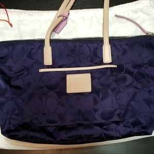 Coach Satin/Purple shoulder bag with Pink interior